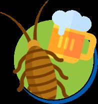 Baratas e cerveja