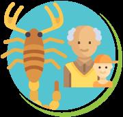 Escorpiões letalidade em idosos e crianças